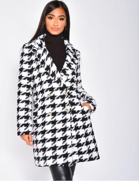 Manteau long à motif pied de poule