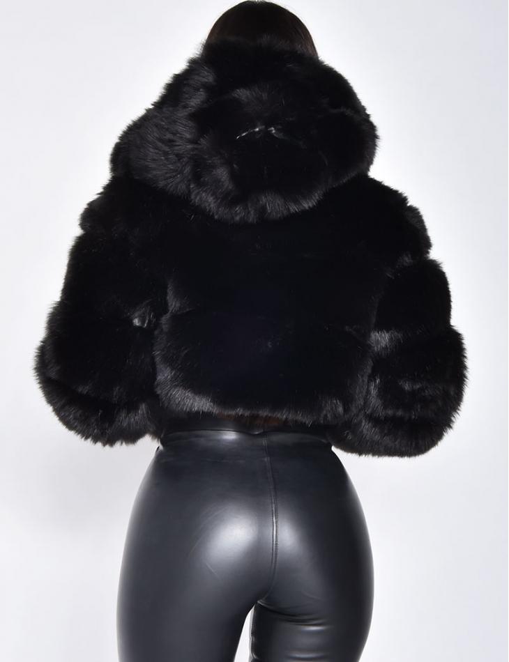 Veste courte fausse fourrure à capuche