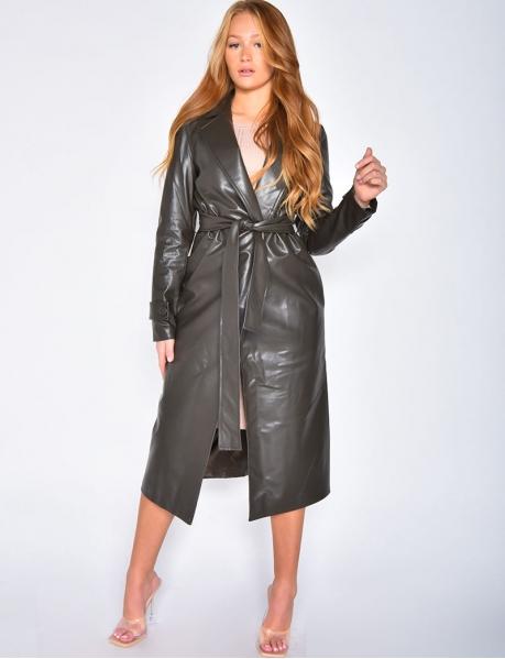 Mantel aus Kunstleder zum Binden