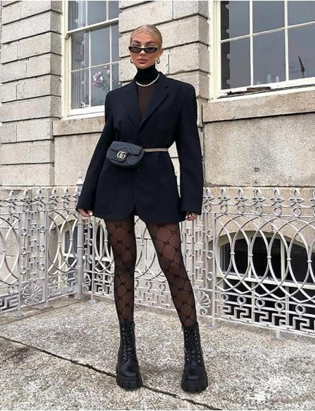 Collants noir à motifs