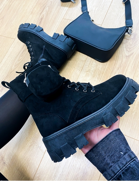 Suedette Ankle Boots with Pouch