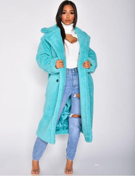 Langer Mantel in Schaffelloptik
