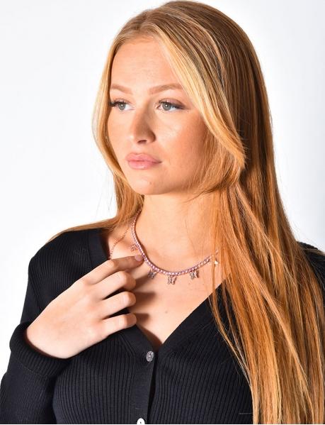Diamanté Necklace with Little Butterflies