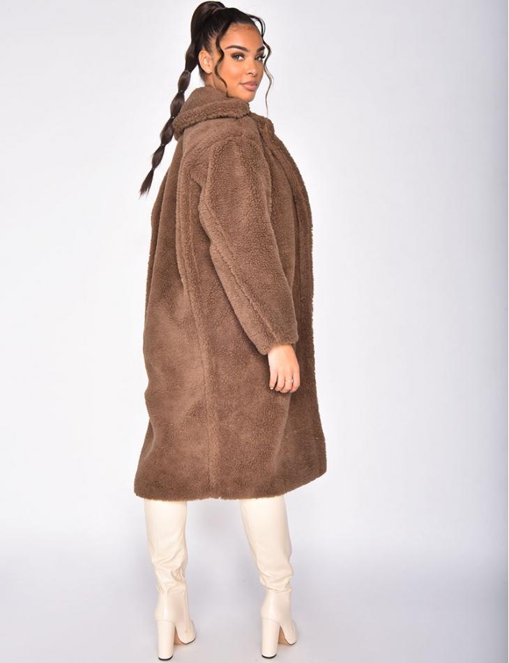 Manteau long effet peau de mouton