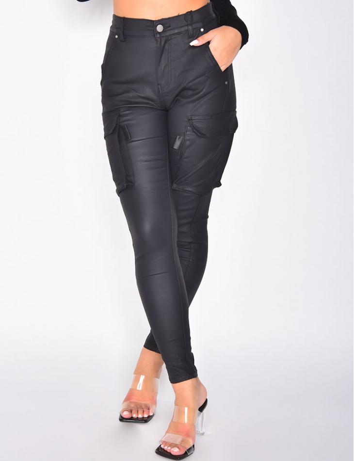 Pantalon effet motard à poches