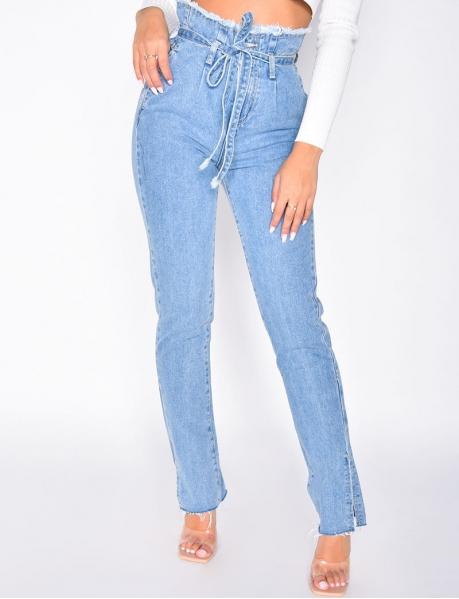 Jeans taille haute à nouer