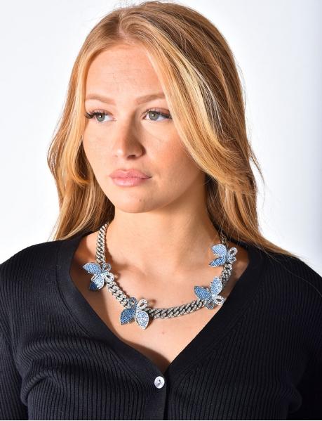 Diamanté Chain Necklace with Butterflies
