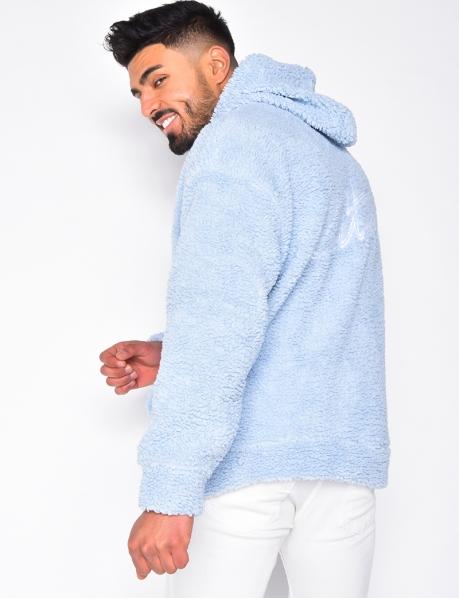 Sweatshirt with Sheepskin-Style Hood