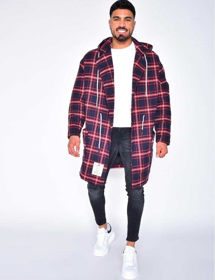 Veste à capuche et carreaux