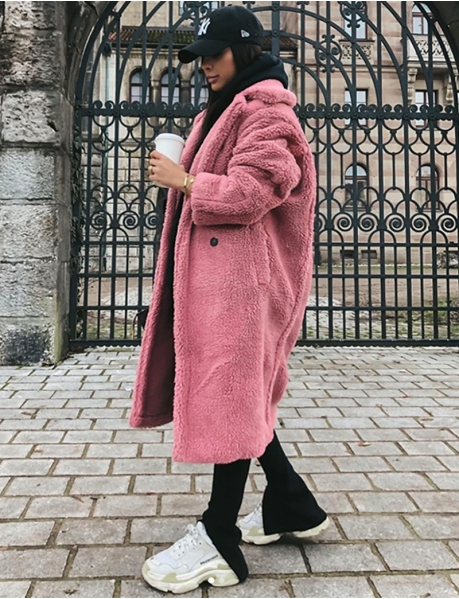 Long Sheepskin-Style Coat