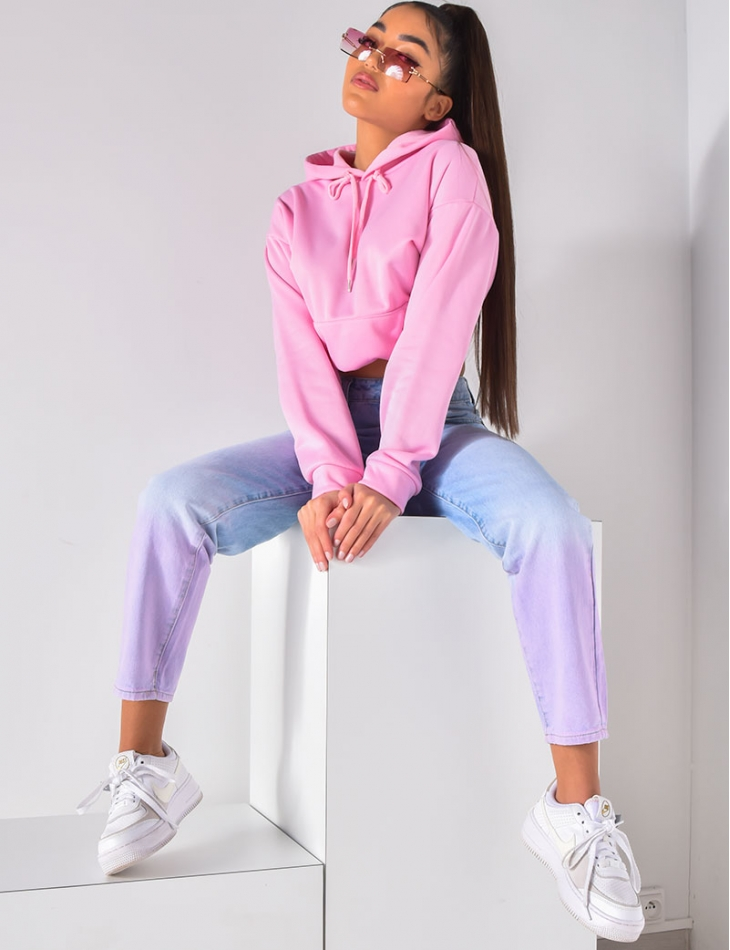 Jeans taille haute bi-color rose