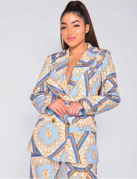 Veste de blazer à motifs baroque