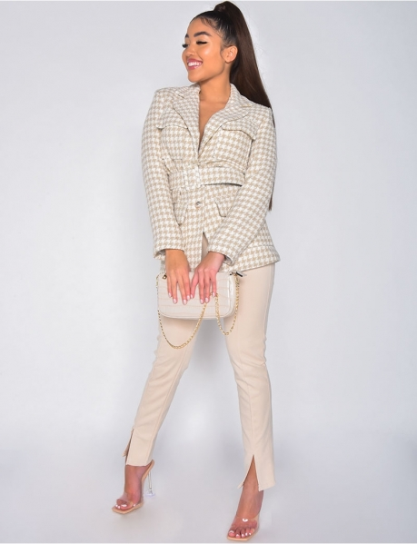 Suedette trousers with slits