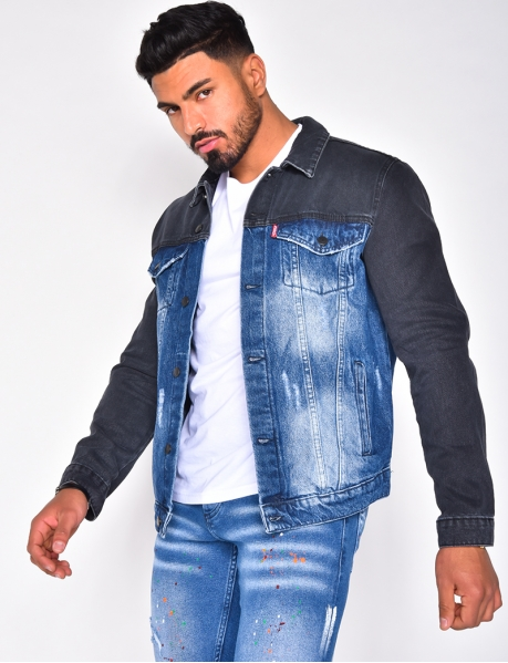 Two-Coloured Ripped Denim Jacket