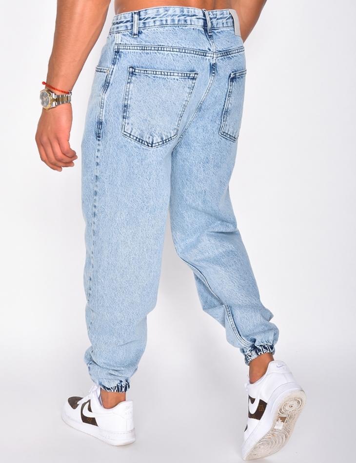 Jeans délavé ressérré aux chevilles