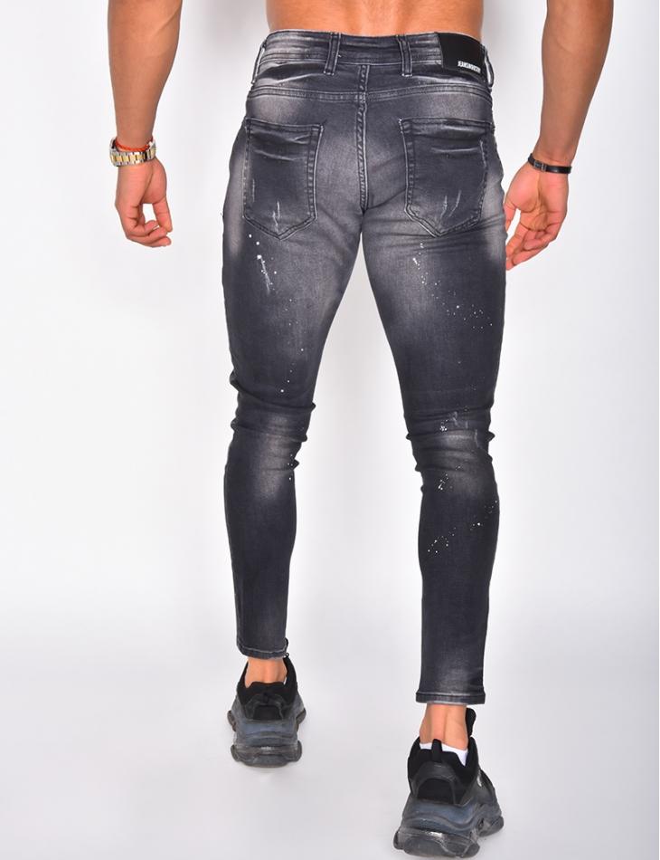 Jeans destroy tâches de peinture