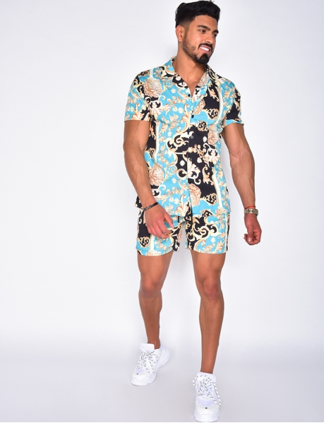 Shirt and shorts with baroque pattern