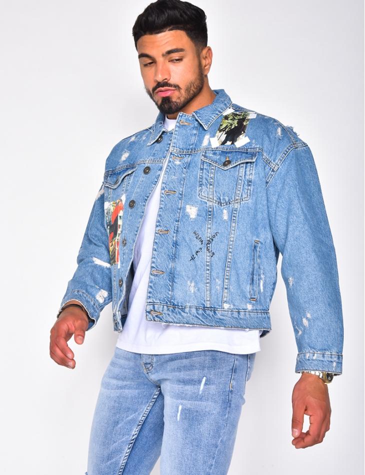 Veste en jeans à patch