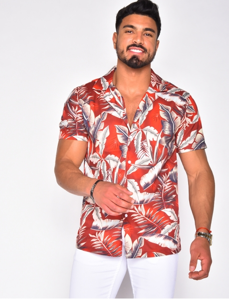 Chemise en satin à motifs tropicaux