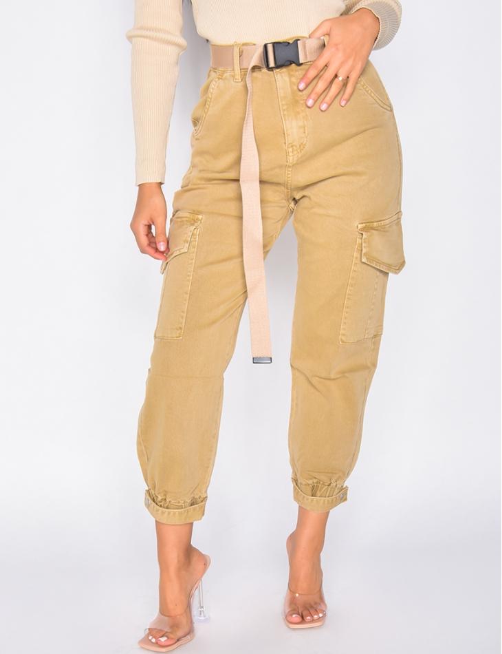 Jeans cargo à ceinture