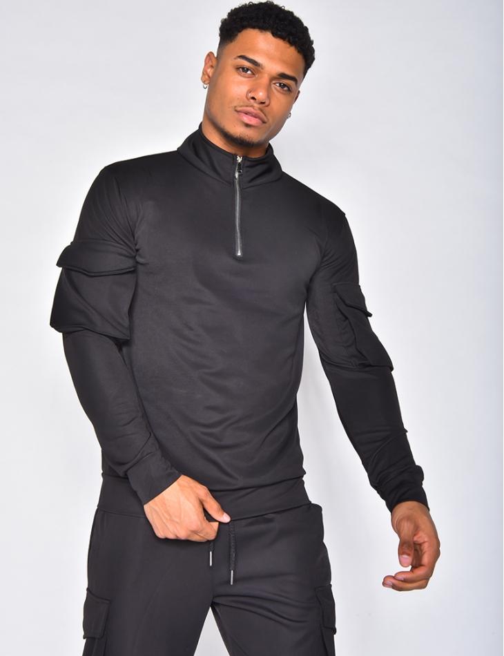 Sweat zip et poches