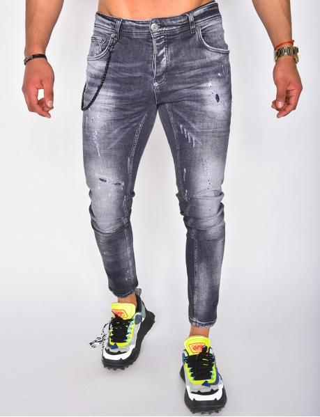 Jeans destroy à chaîne