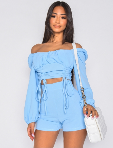 Gathered Crop Top and Zipped Shorts Co-ord