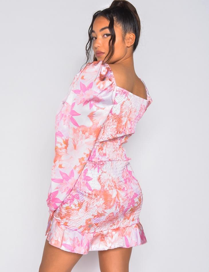Robe froncée motifs fleurs