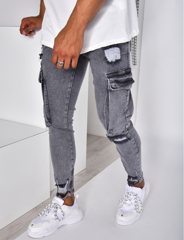 Jeans destroy à poches