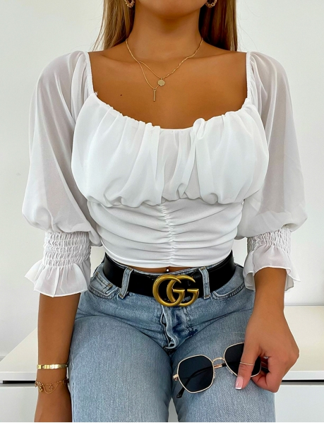 Tie crop-top with puff sleeves