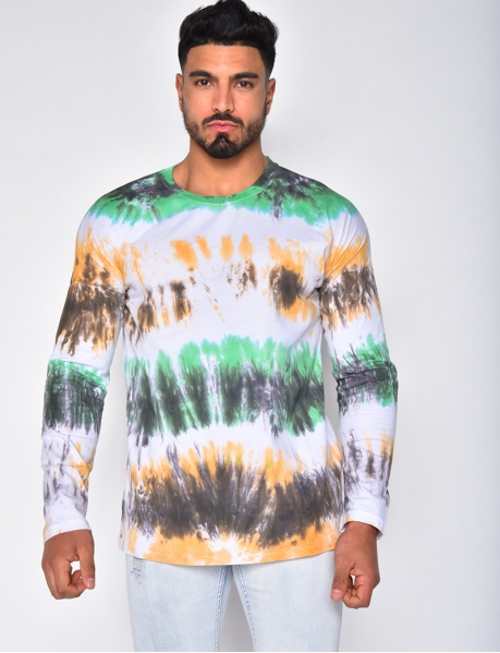 Long-Sleeved Tie-dye T-shirt