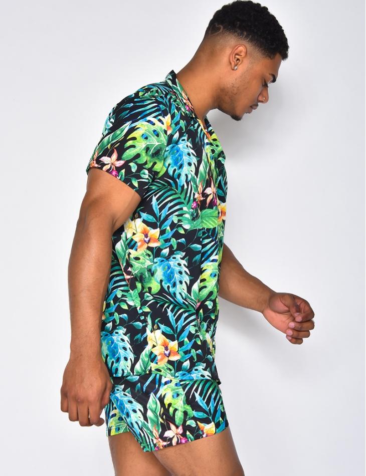 Ensemble chemise et short de bain à motifs fleurs