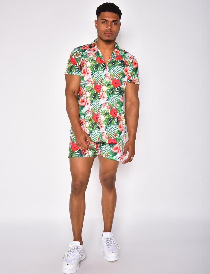 Ensemble chemise et short de bain à motifs Tropical