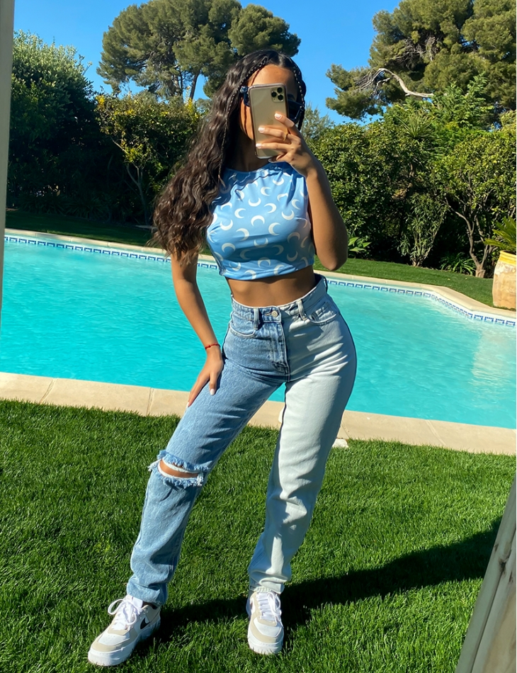 Jeans destroy bi-color