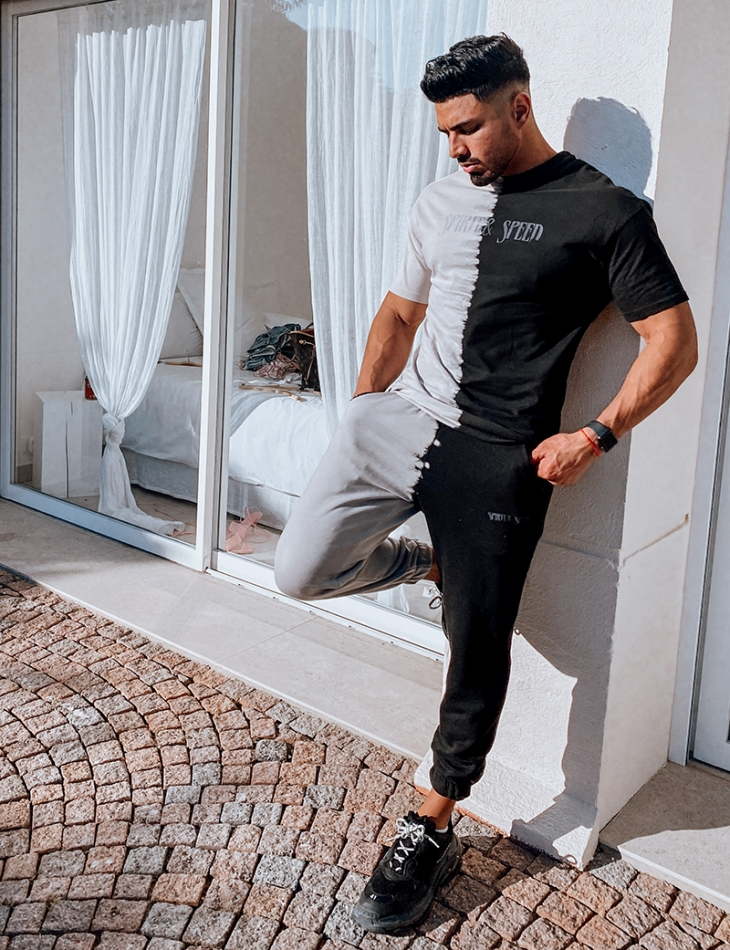 Ensemble t-shirt et pantalon bi-color