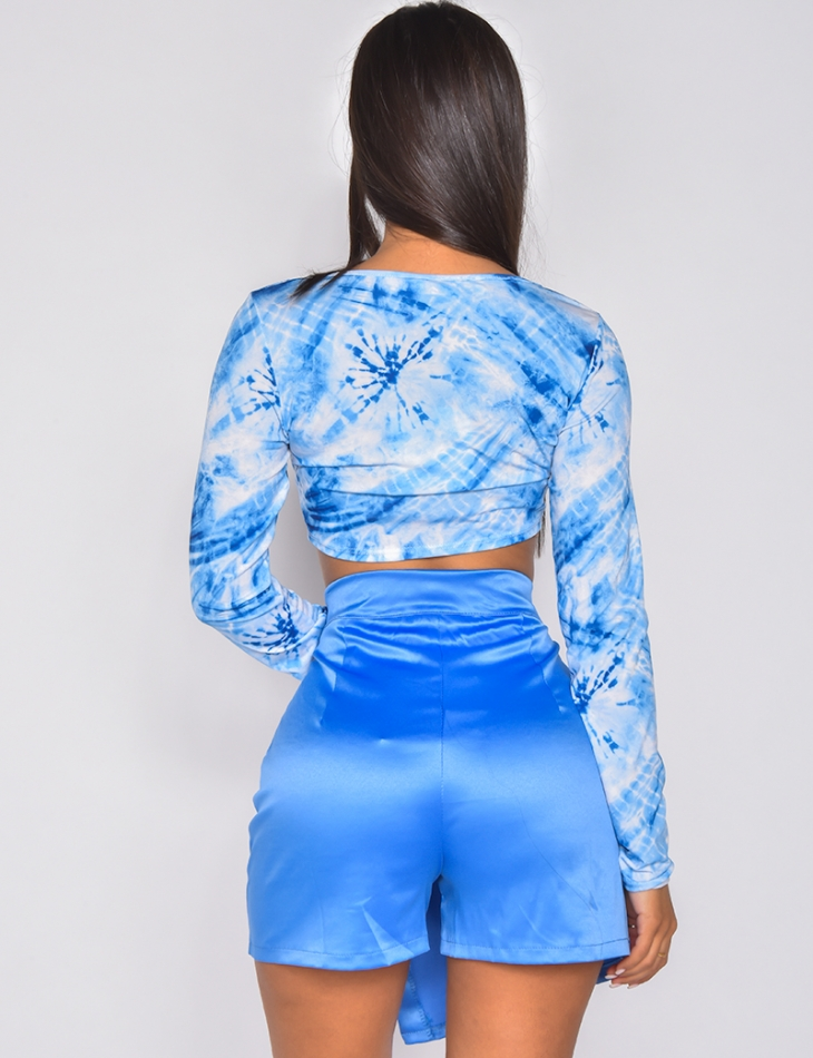 Crop-top  manches longues tie and dye