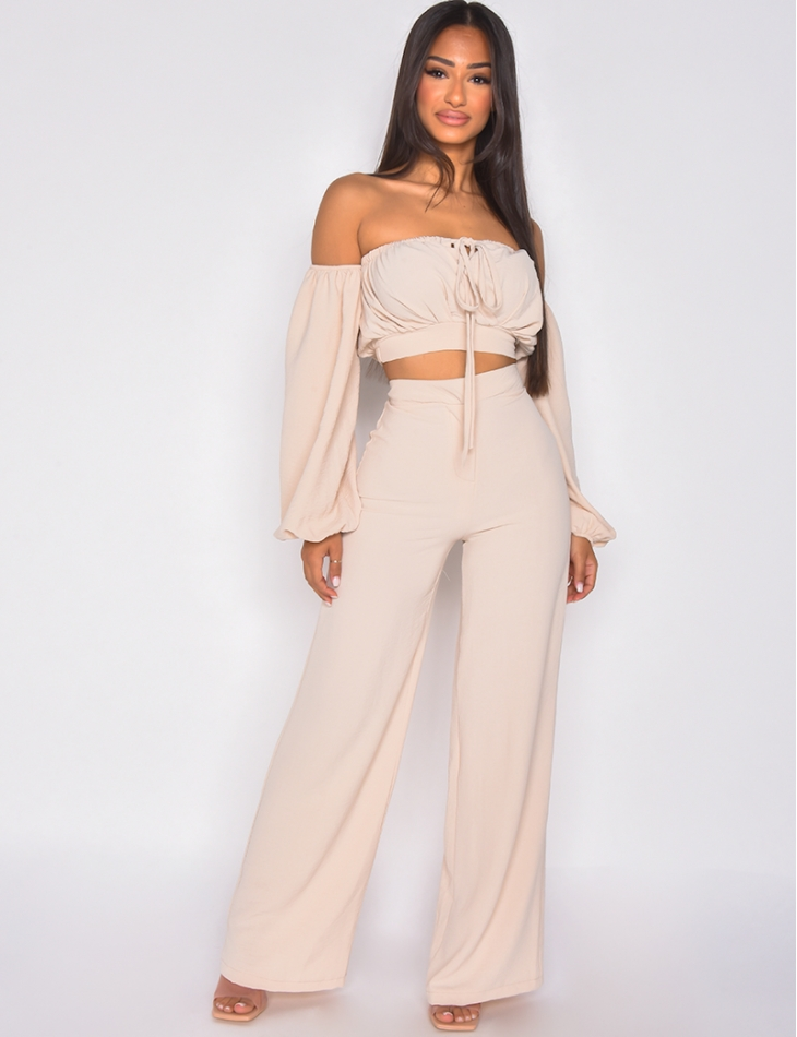 Ensemble pantalon fluide et crop top manches bouffantes