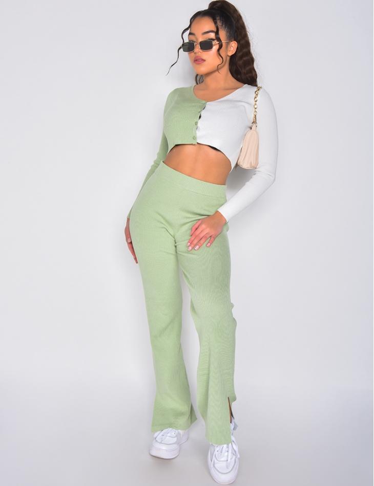 Ensemble pantalon à fentes et crop top bi-color