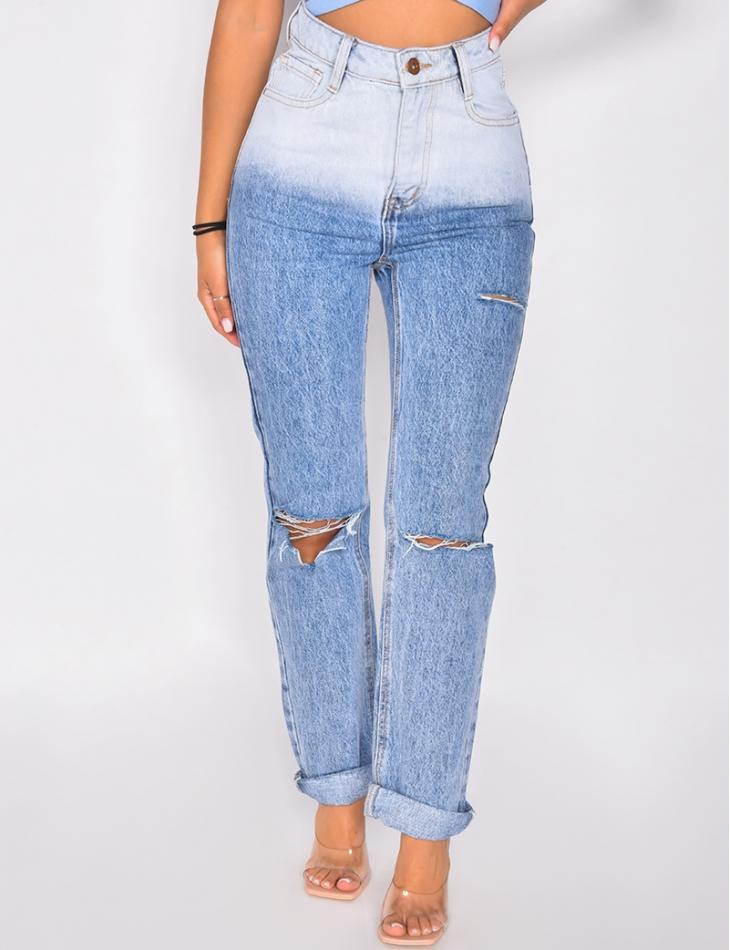 Jeans bi-color destroy