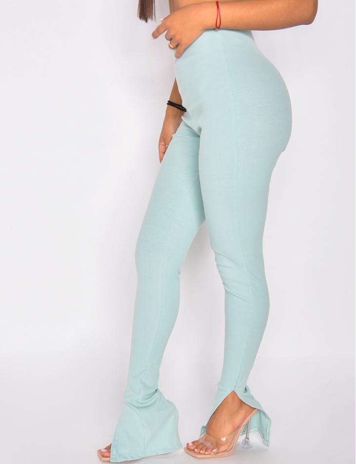 Pantalon côtelé à fente
