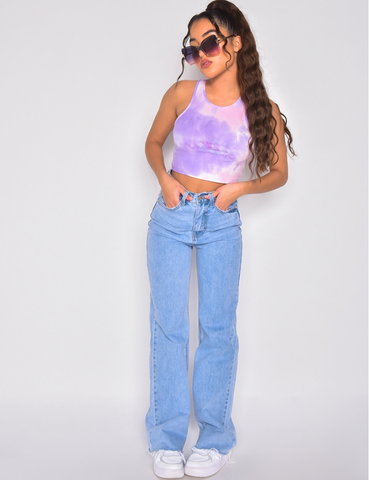 Crop-top sans manches tie and dye