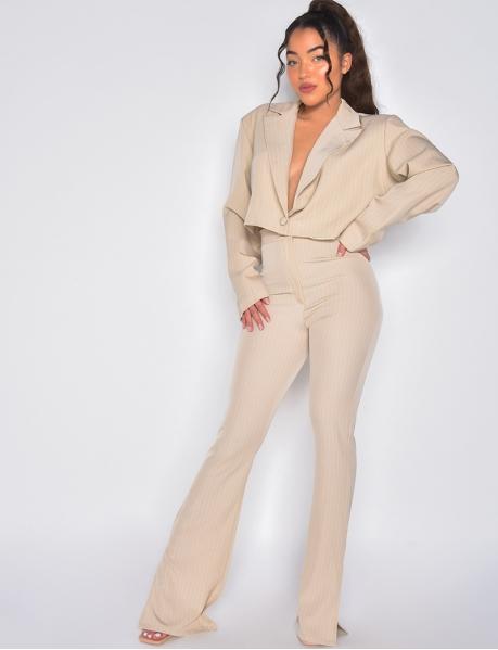 Pantalon de tailleur à rayures