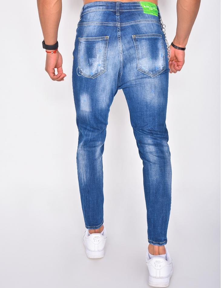 Jeans destroy tâches de peinture et chaîne