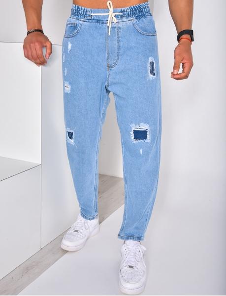 Destroyed Jeans mit elastischem Bund