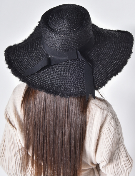 Frayed Straw Hat with Ribbon