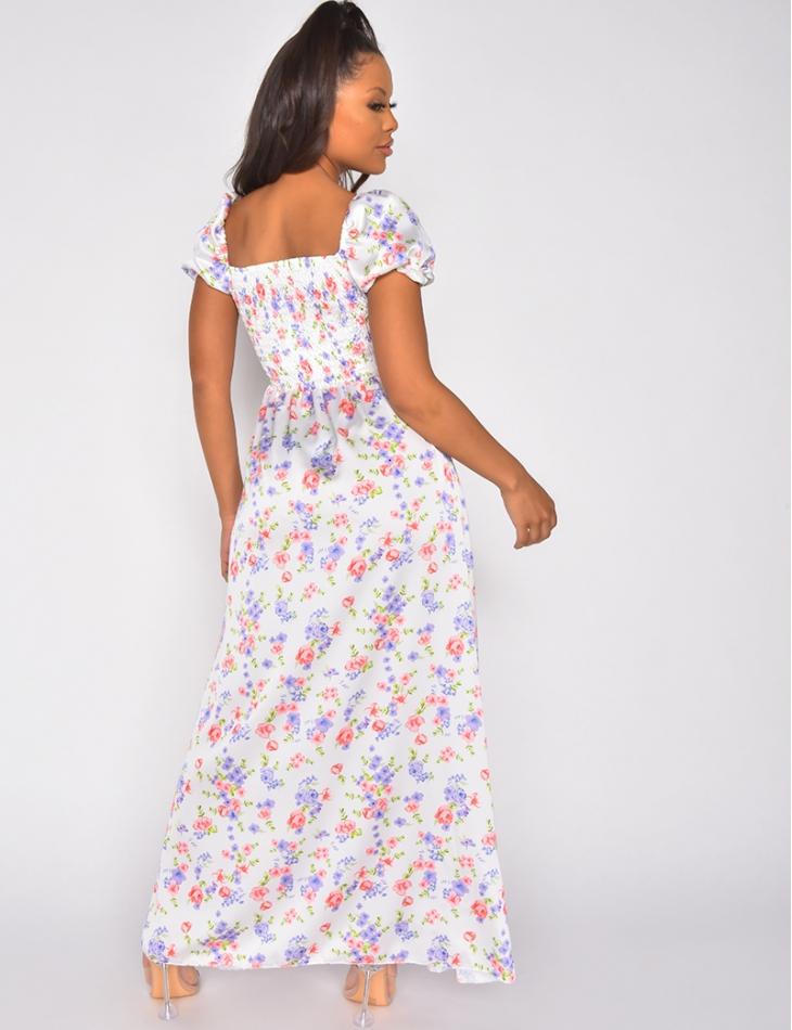 Robe bardot motif fleurs