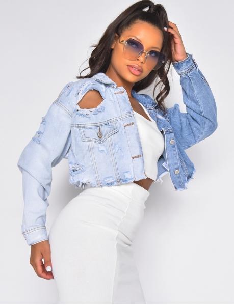 Veste en jeans courte destroy bi-color