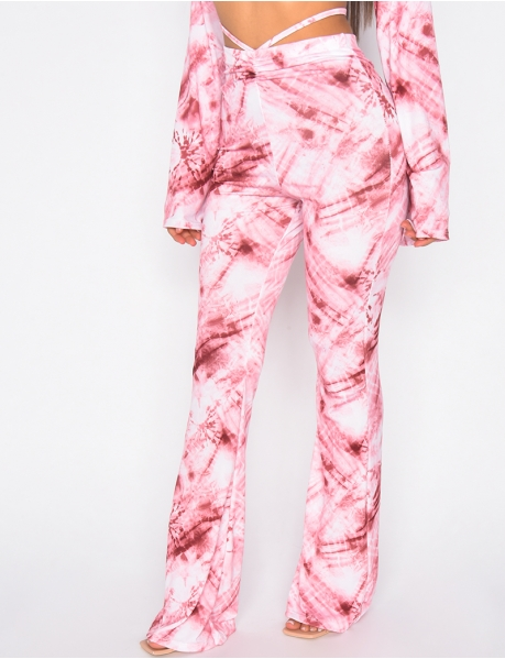 Loose Fit Gathered Trousers with Flecks