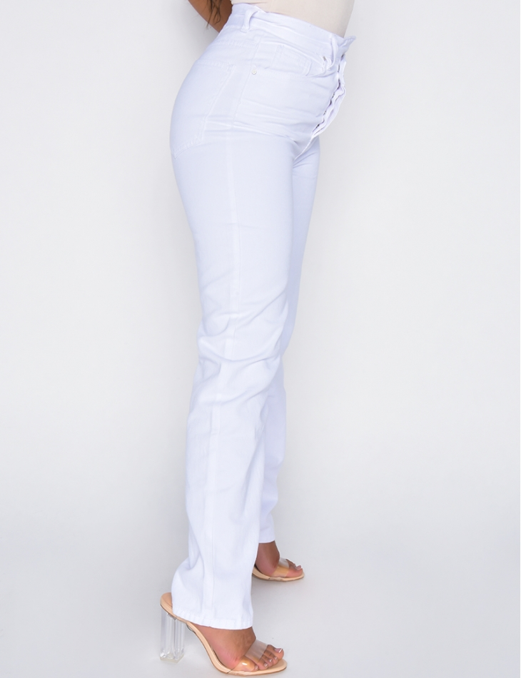 Jeans taille haute large