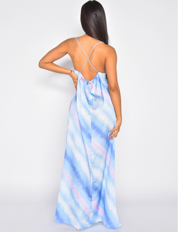 Robe longue en satin croisé dans le dos
